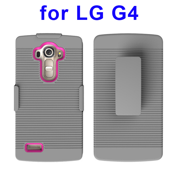 Shockproof Belt Clip Holster Backup Hybrid Case For LG G4 (Rose)