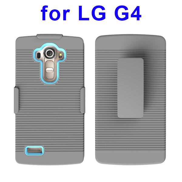 Shockproof Belt Clip Holster Backup Hybrid Case For LG G4 (Baby Blue)