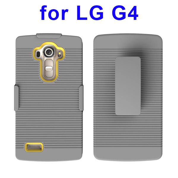 Shockproof Belt Clip Holster Backup Hybrid Case For LG G4 (Yellow)