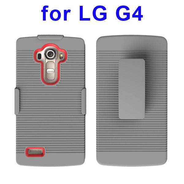Shockproof Belt Clip Holster Backup Hybrid Case For LG G4 (Red)