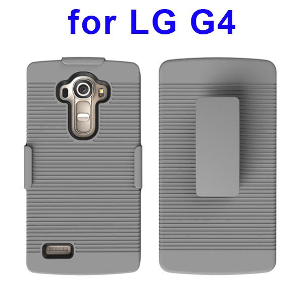 Shockproof Belt Clip Holster Backup Hybrid Case For LG G4 (Black)