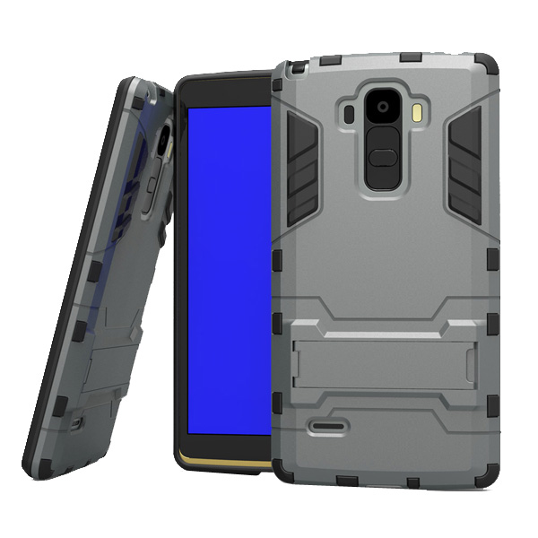 3 in 1 Pattern Tank Style TPU and PC Hybrid Protective Cover for LG G4 Note with Kickstand & Built-in Screen Protector (Grey)