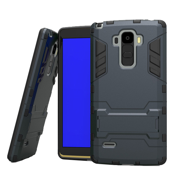 3 in 1 Pattern Tank Style TPU and PC Hybrid Protective Cover for LG G4 Note with Kickstand & Built-in Screen Protector (Black)