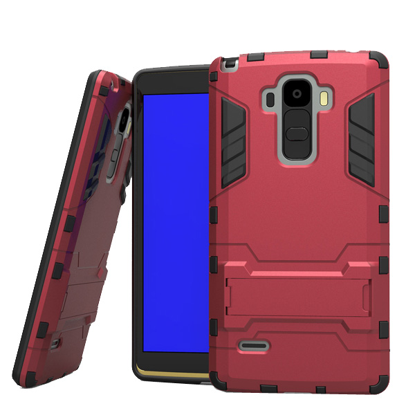 3 in 1 Pattern Tank Style TPU and PC Hybrid Protective Cover for LG G4 Note with Kickstand & Built-in Screen Protector (Red)