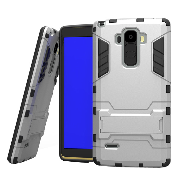 3 in 1 Pattern Tank Style TPU and PC Hybrid Protective Cover for LG G4 Note with Kickstand & Built-in Screen Protector (Silver)