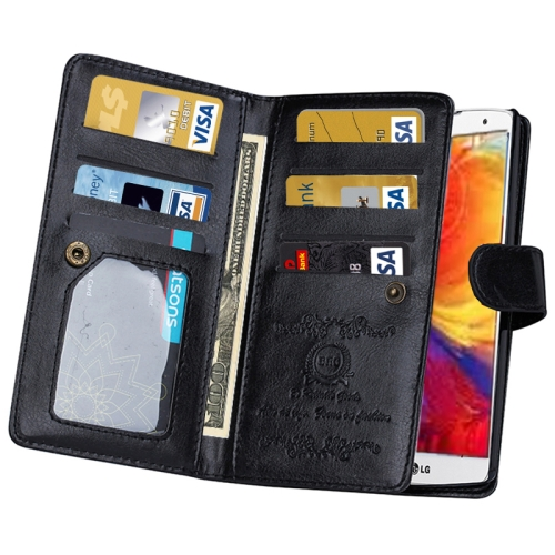 Solid Color Crazy Horse Texture Horizontal Flip Leather Case for LG G4 with Nine Card Slots and Wallet (Black)