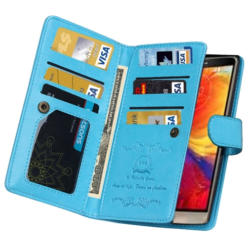 Solid Color Crazy Horse Texture Horizontal Flip Leather Case for LG G4 with Nine Card Slots and Wallet (Blue)