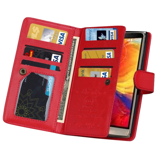 Solid Color Crazy Horse Texture Horizontal Flip Leather Case for LG G4 with Nine Card Slots and Wallet (Red)
