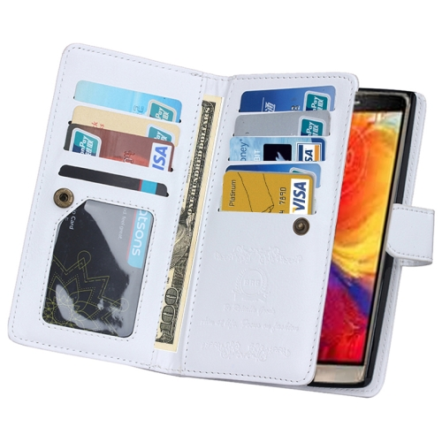 Solid Color Crazy Horse Texture Horizontal Flip Leather Case for LG G4 with Nine Card Slots and Wallet (White)