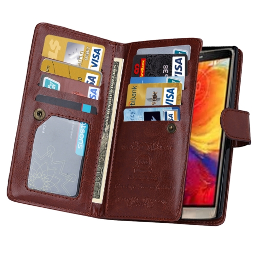 Solid Color Crazy Horse Texture Horizontal Flip Leather Case for LG G4 with Nine Card Slots and Wallet (Brown)
