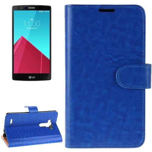 Crazy Horse Texture Horizontal Flip Solid Color Leather Case for LG G4 (Blue)