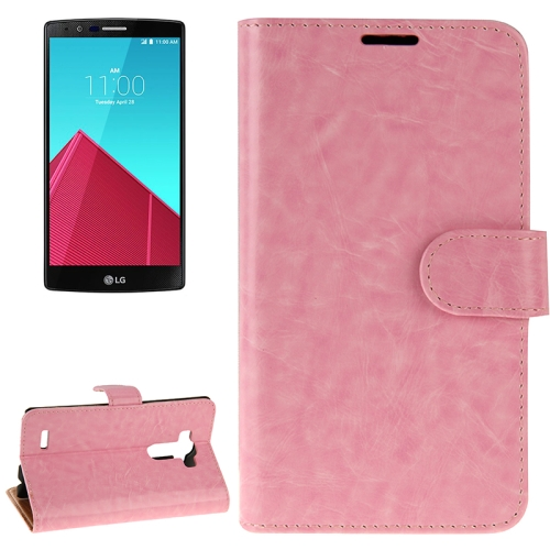 Crazy Horse Texture Horizontal Flip Solid Color Leather Case for LG G4 (Pink)
