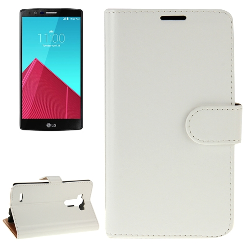 Crazy Horse Texture Horizontal Flip Solid Color Leather Case for LG G4 (White)