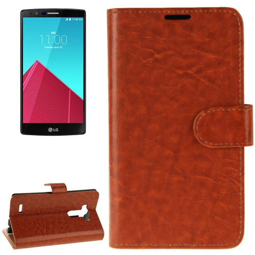 Crazy Horse Texture Horizontal Flip Solid Color Leather Case for LG G4 (Brown)