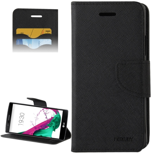 Cross Texture Horizontal Flip Color Matching Leather Case for LG G4 with Card Slots (Black)