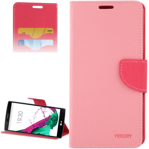 Cross Texture Horizontal Flip Color Matching Leather Case for LG G4 with Card Slots (Pink)