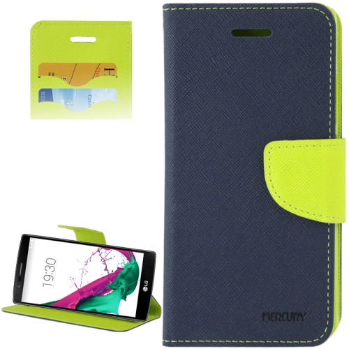 Cross Texture Horizontal Flip Color Matching Leather Case for LG G4 with Card Slots (Green)