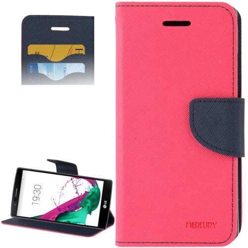 Cross Texture Horizontal Flip Color Matching Leather Case for LG G4 with Card Slots (Rose)