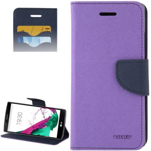 Cross Texture Horizontal Flip Color Matching Leather Case for LG G4 with Card Slots (Purple)