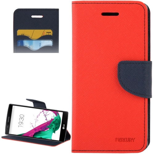 Cross Texture Horizontal Flip Color Matching Leather Case for LG G4 with Card Slots (Red)