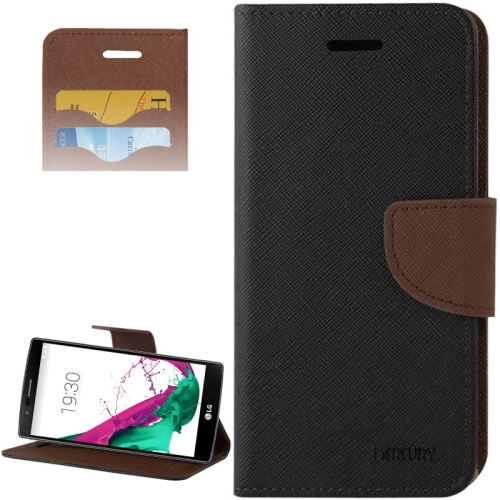 Cross Texture Horizontal Flip Color Matching Leather Case for LG G4 with Card Slots (Brown)