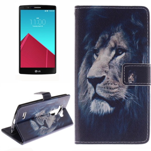 Wallet Pattern Flip Leather Case for LG G4 with Holder & Card Slots (Lion Pattern)