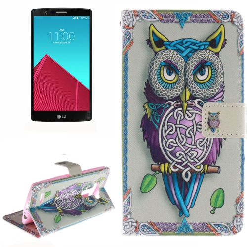 Wallet Pattern Flip Leather Case for LG G4 with Holder & Card Slots (Owl Pattern)