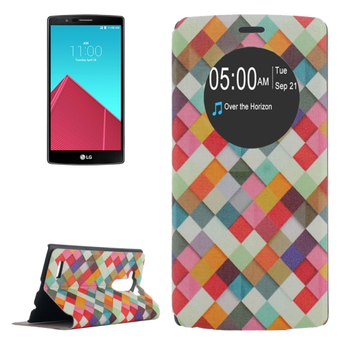Leather Case Cover for LG G4 with Holder and Caller ID Display (Colorful Grid Pattern)