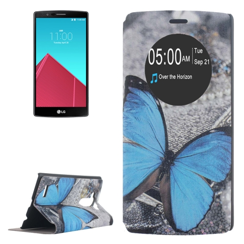 Leather Case Cover for LG G4 with Holder and Caller ID Display (Butterfly Pattern)