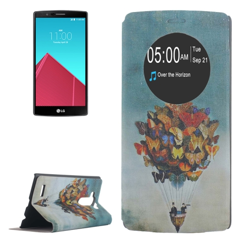 Leather Case Cover for LG G4 with Holder and Caller ID Display (Butterfly Balloon Pattern)