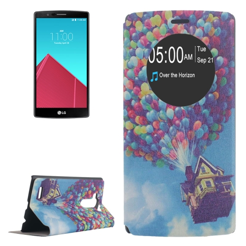 Leather Case Cover for LG G4 with Holder and Caller ID Display (Balloon Pattern)