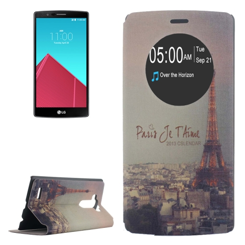 Leather Case Cover for LG G4 with Holder and Caller ID Display (Paris Je T'Aime Pattern)