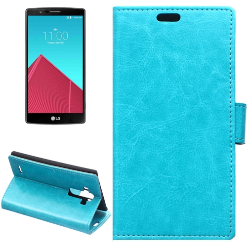 Crazy Horse Texture Horizontal Wallet Flip Leather Case for LG G4 with Magnetic Buckle (Blue)