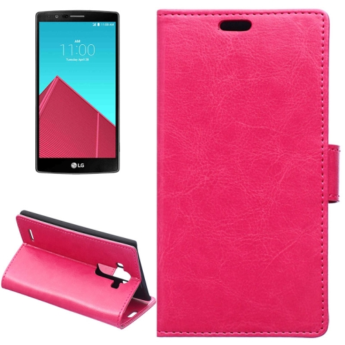 Crazy Horse Texture Horizontal Wallet Flip Leather Case for LG G4 with Magnetic Buckle (Rose)