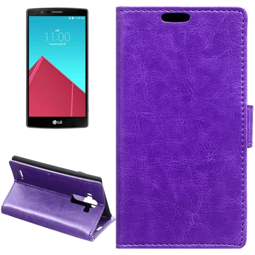 Crazy Horse Texture Horizontal Wallet Flip Leather Case for LG G4 with Magnetic Buckle (Purple)