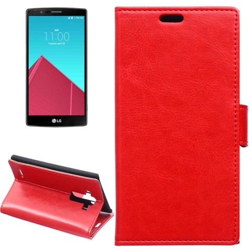 Crazy Horse Texture Horizontal Wallet Flip Leather Case for LG G4 with Magnetic Buckle (Red)
