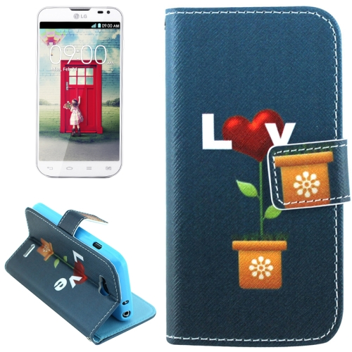 Color Pattern Flip Stand Leather Mobile Phone Wallet Case for LG L90 (Love)