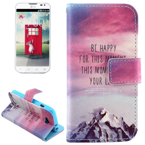Color Pattern Flip Stand Leather Mobile Phone Wallet Case for LG L90 (Mountain)