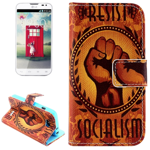 Color Pattern Flip Stand Leather Mobile Phone Wallet Case for LG L90 (Socialism)