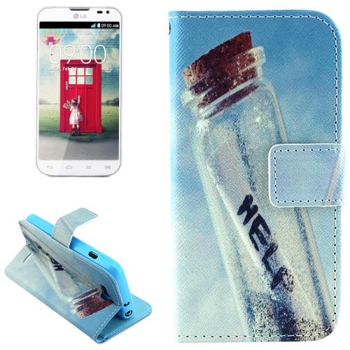 Color Pattern Flip Stand Leather Mobile Phone Wallet Case for LG L90 (Floating Bottle)