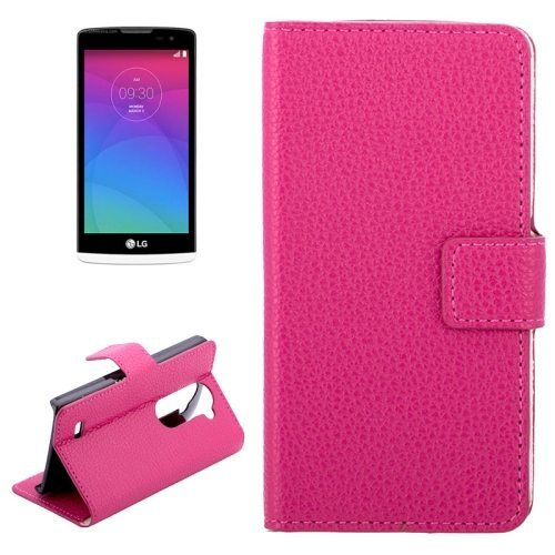 Litchi Texture Horizontal Flip Leather Phone Case for LG Leon C40 with Card Slots (Rose)