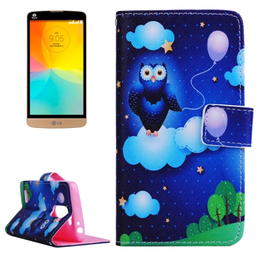 Smooth Surface Wallet Flip Leather Case for LG L Prime with Card Slots and Stand (Owl in the Night Sky Pattern)