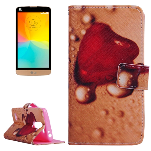 Smooth Surface Wallet Flip Leather Case for LG L Prime with Card Slots and Stand (Heart Pattern)