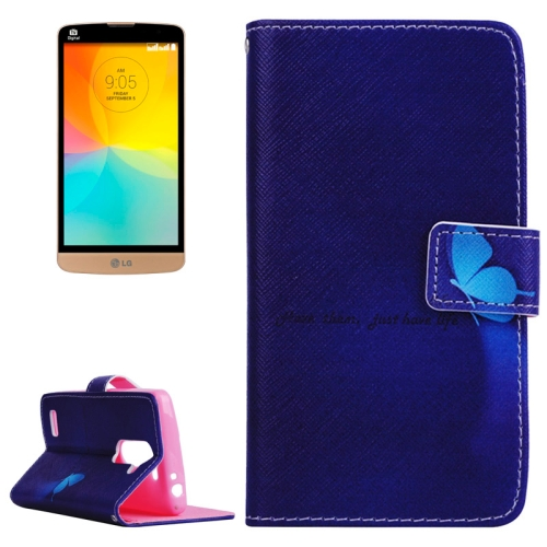 Smooth Surface Wallet Flip Leather Case for LG L Prime with Card Slots and Stand (Butterfly and Words Pattern)