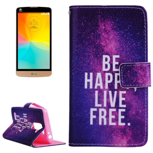 Smooth Surface Wallet Flip Leather Case for LG L Prime with Card Slots and Stand (Words Pattern)