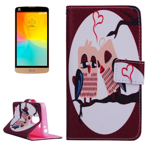 Smooth Surface Wallet Flip Leather Case for LG L Prime with Card Slots and Stand (Lovely Cartoon Pattern)