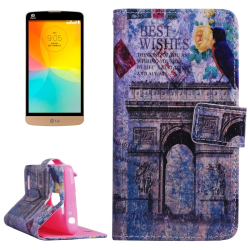 Smooth Surface Wallet Flip Leather Case for LG L Prime with Card Slots and Stand (Abstract Building Pattern)