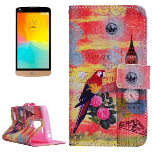Smooth Surface Wallet Flip Leather Case for LG L Prime with Card Slots and Stand (Scenery Pattern)