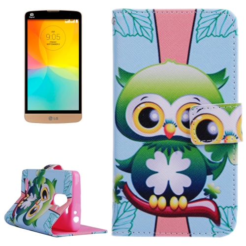 Smooth Surface Wallet Flip Leather Case for LG L Prime with Card Slots and Stand (Lovely Cartoon Owl Pattern)