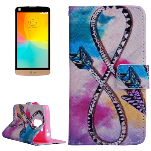 Smooth Surface Wallet Flip Leather Case for LG L Prime with Card Slots and Stand (Bowknot Pattern)